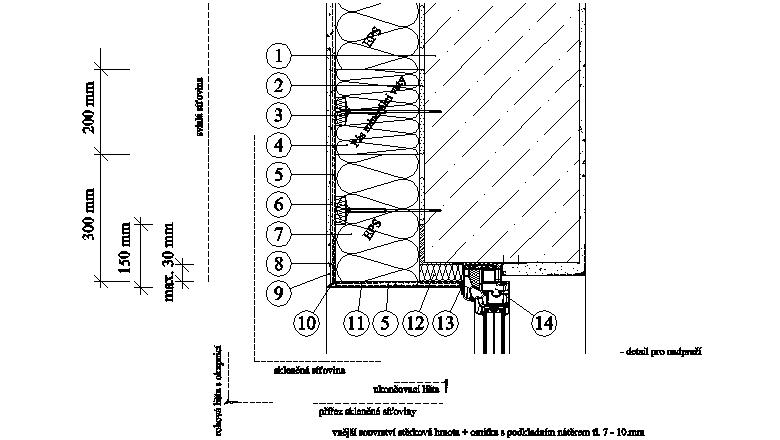 ETICS Weber therm - detail nadpraží s pásem minerální vlny MW PKO-20-016