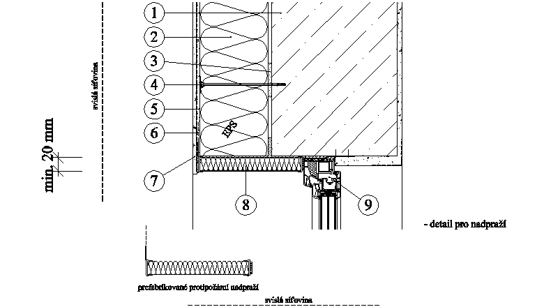 ETICS weber therm - detail s prefabrikovaným nadpražím a ostěním PKO-20-009