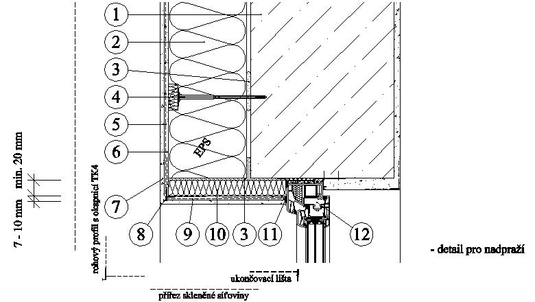 ETICS weber therm - detail nadpraží a ostění s pásem minerální vlny PKO-17-006