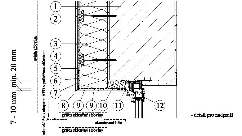 ETICS weber therm - detail nadpraží a ostění s vloženým pásem minerální vlny PKO-20-007
