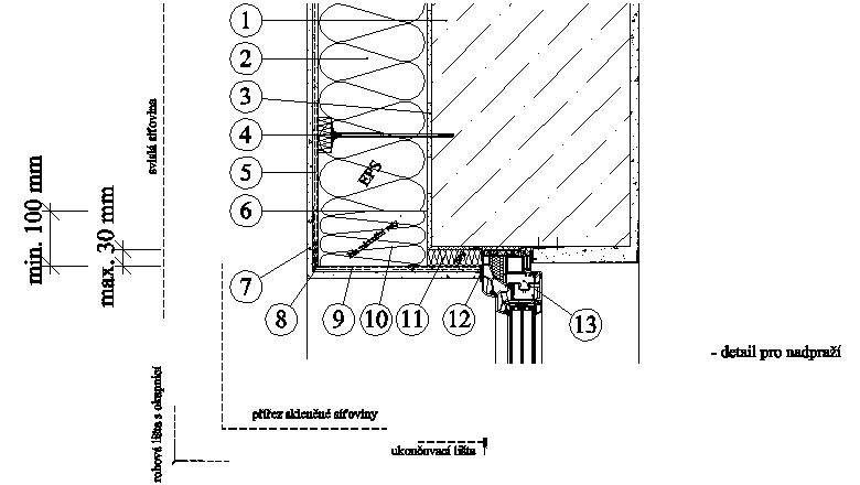 ETICS Weber therm - detail nadpraží s pásem minerální vlny MW PKO-20-017