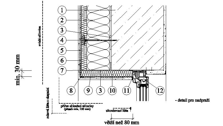 ETICS weber therm twinner - detail nadpraží a ostění šířky nad 80 mm PKO-17-018