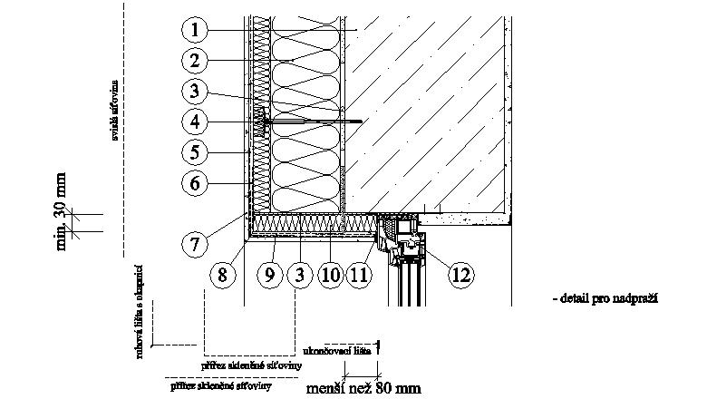 ETICS weber therm twinner - detail nadpraží a ostění šířky do 80 mm PKO-17-018