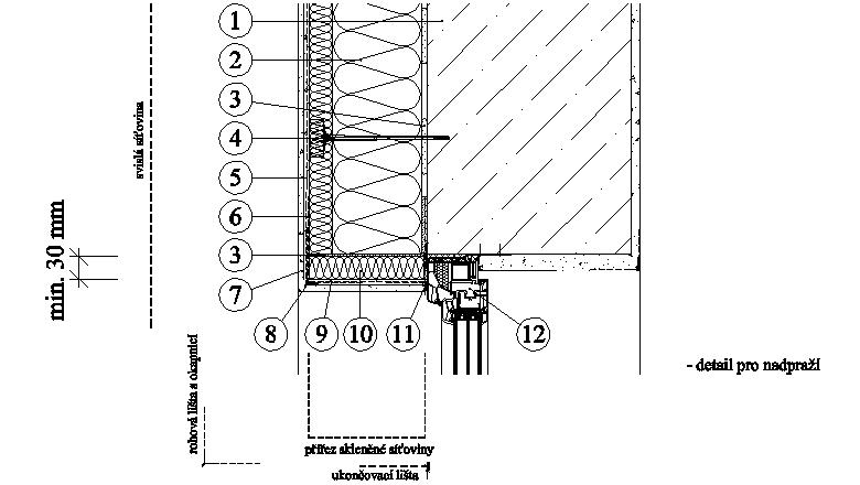 ETICS weber therm twinner - detail nadpraží a ostění, okno lícující se stěnou PKO-17-006