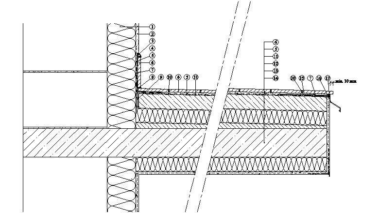 Balkony a lodžie Weber Terranova - řez balkonem - dodatečné zateplení