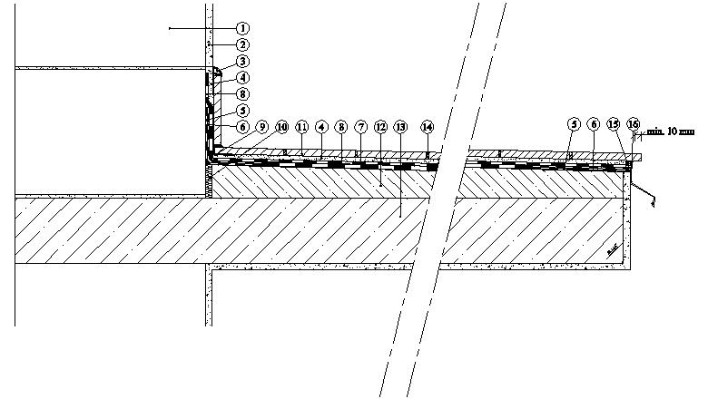 Balkony a lodžie Weber Terranova - řez balkonem - hydroizolace - TERIZOL